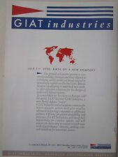 1990 PUB GIAT INDUSTRIES FRENCH DEFENCE MAJOR 1/7/1990 ARMEMENTS ORIGINAL AD
