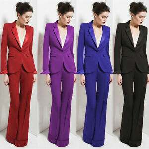 Women's Formal Business Office Suits Jacket With Pant Ladies Slim Fit Party Work