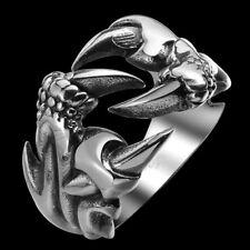 Fashion Men's Punk Gothic Rock Biker Vintage Silver Stainless Steel Claw Ring
