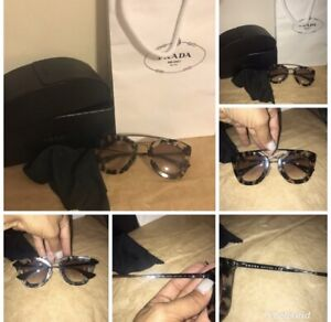 100% Authentic Prada Cat Eye Brown Clear Sunglasses With Case Bag Dust Italy