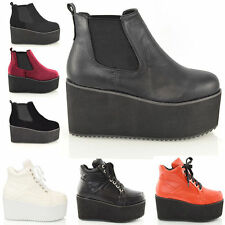 Synthetic Leather Wedge Ankle Boots for Women