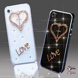 NEW 3D DELUX COOL BLING DIAMANTE LOVE HEART CASE VARIOUS MOBILE PHONES iPHONE