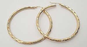 14K Round Earrings Hollow Yellow White Rose Gold Hoop Hoops Oversize Tri Color