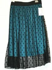 MEDIUM LuLaRoe LOLA SKIRT black teal blue polkadot dots lace tulle overlay NWT M