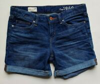 Gap 1969 Real Straight Jean Shorts Size 25 Womens Blue Cuffed Denim Stretch