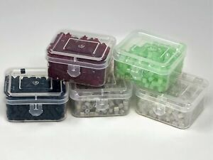 Glass Square Cube Beads 200 grams, 1,600 Beads, 5 Flip Top Plastic Storage Boxes