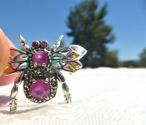 PLIQUE A JOUR 925 SILVER RUBY GEMSTONE INSECT MOTH BEE BUG BROOCH AMAZING