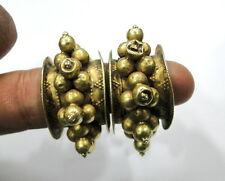 Rare Vintage antique ethnic tribal solid 18K old Gold Earring earplug pair india