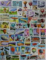 HOT AIR BALLOONS , ZEPPELINS, nice collection of 100 different stamps (lot#DP)