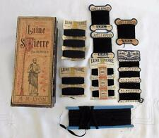 ANTIQUE FRENCH LAINE ST PIERRE SILK THREAD SHOP DISPLAY BOX & CONTENTS c1910
