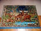 Vintage Tapestry Rug Hunting Lodge Rustic Cabin Decor Deer Buck Mid Century Mod