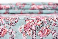2.5 YD Indian Hand Block Print Cotton Fabric Natural Printed Handmade Sanganeri