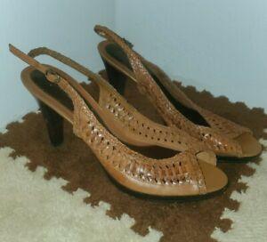Bandolino Brown Woven Leather Peep Toe Slingbacks womens 8.5 ankle strap