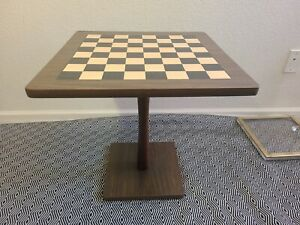 """Mid Century Faux Wood Grain Laminate Chess Checkers Pedestal Game Table ~20""""×20"""""""