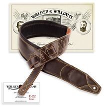 Walker & Williams C-22  Extra Wide Double Padded Dark Brown Leather Guitar Strap