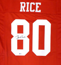 SAN FRANCISCO 49ERS JERRY RICE AUTOGRAPHED SIGNED RED JERSEY BECKETT 130022