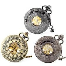 Vintage Steampunk Alloy Gold/Silver/Black Pocket Watch Pendant Necklace Chain