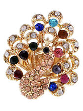Womens Adjustable Gold Tone Multicolored Rhinestones Peacock Bird Ring Jewelry