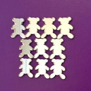 Pack of Teddy Craft Scrapbook Card Embellishment Wedding Decor Acrylic Mirrors
