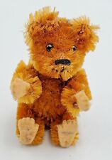"Schuco Picculo Miniature 2-1/2"" Jointed Brown Mohair Teddy Bear w/ Felt Pads"