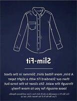 Goodthreads Men's Slim-Fit Long-Sleeve Gingham Plaid, Blue/White, Size Medium