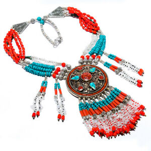 """Turquoise & Red Coral Antique Silver Handmade Tibetan Necklace 17.99"""" S2686"""