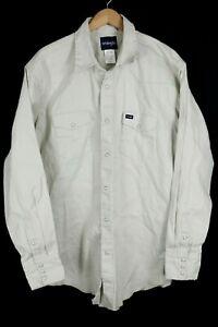 Wrangler Mens Sz 2XT Beige Denim Long Sleeve Pearl Snap Western Shirt