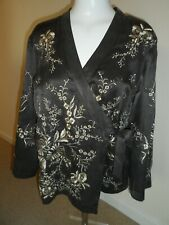 Monsoon ladies silk brown embroidered cardigan jacket size 14