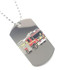 Scania Fire Engine Emergency Services Enamel Crested Stainless Steel Pendant
