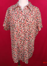 Plus Size East 5th  1X Multi Colored Print Button Front Short Sleeve Top