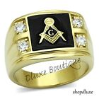 Men's 14k IP Gold Stainless Steel AAA CZ Masonic Freemason Ring Band Size 8-14