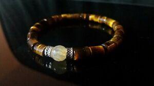 Mens womens Bead Bracelet Tigereye 925 Sterling Silver Beads citrine healing