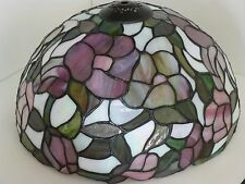 """GORGEOUS 12"""" IRIDESCENT Tiffany Style STAINED GLASS Pinks & Purples LAMP SHADE"""