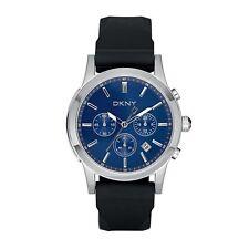 NEW DKNY BLACK RUBBER & BLUE DIAL CHRONOGRAPH WATCH-NY1467