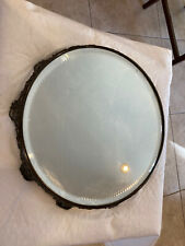 Antique Vanity/ Perfume Beveled And Diamond Cut Mirror Tray- Silver Plate 1920's