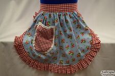 RETRO VINTAGE 50s STYLE HALF APRON / PINNY - SKY BLUE with STRAWBERRIES & GINGHA