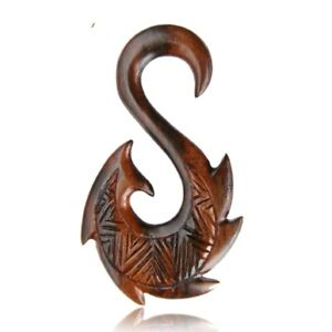 "PAIR 8g SONO WOOD Tribal PLUGS 1"" 7/8 INCH GAUGES TALONS Hooks Earrings"