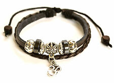 """Brown Leather and Silver Om/Ohm Charm Shamballa Bracelet - Adjustable 7"""" - 9"""""""