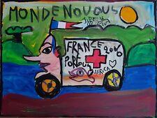 JABER, art brut raw art Dubuffet toile sur châssis env. 60 x 80 cm signée 2006