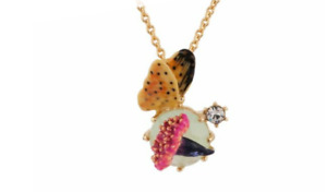 LES NEREIDES PARIS NECKLACE FLOWER BUTTERFLY GLASS STONE PAINTED GOLD PLATED 14K