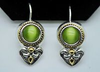 Retro unique style olivine cats eye dangle fashion french clip earring YA142b