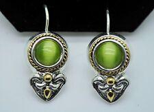 dangle fashion french clip earring S151 Retro unique style olivine cats eye