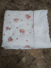 Martha Stewart FULL Size Fitted & Flat Sheet White Pink Floral lace Trim