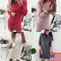 Women's Fine Knitted Sweater Long Jumper Lace Strass Knitted Dress Mini Tops