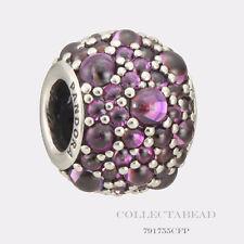 Authentic Pandora Silver Shimmering Droplets Fancy Purple CZ Bead 791755CFP