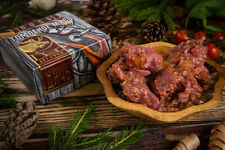 Stewed tender meat of moose, deer, beaver and boar from Russia. Premium quality.