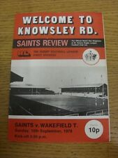 10/09/1978 Rugby League Programme: St Helens v Wakefield Trinity  (team changes,