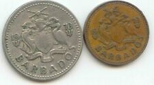 BARBADOS 1973 25 Twenty Five Cents WINDMILL 25c + One Cent 1c 1 Trident Coins