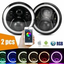 "2pcs 7"" 60W CREE RGB Halo Ring Bluetooth APP LED Headlights Jeep Wrangler JK TJ"