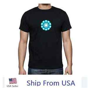 LED T-shirt Iron Man Sound Activated Equalizer Flashing Costume Party Cosplay US